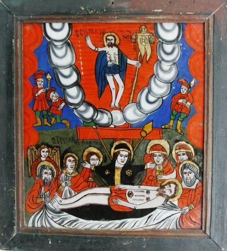 Icoană pe sticlă - Îngroparea lui Iisus Hristos; - Înălţarea lui Iisus Hristos la ceruri (Plângerea, Prohodul) - Muzeul Naţional al Ţăranului Român - BUCUREŞTI (Patrimoniul Cultural National Mobil din Romania. Ordin de clasare: 2071/19.02.2009 - Tezaur)