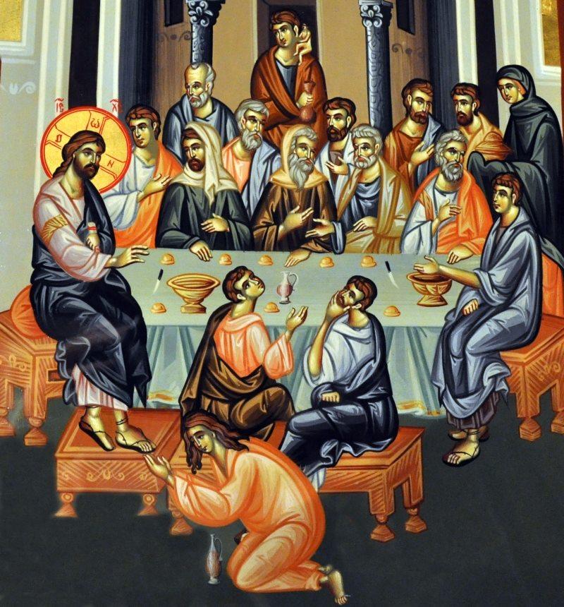 Femeia păcătoasă s-a apropiat de El și a turnat pe capul Lui un mir de mare preț