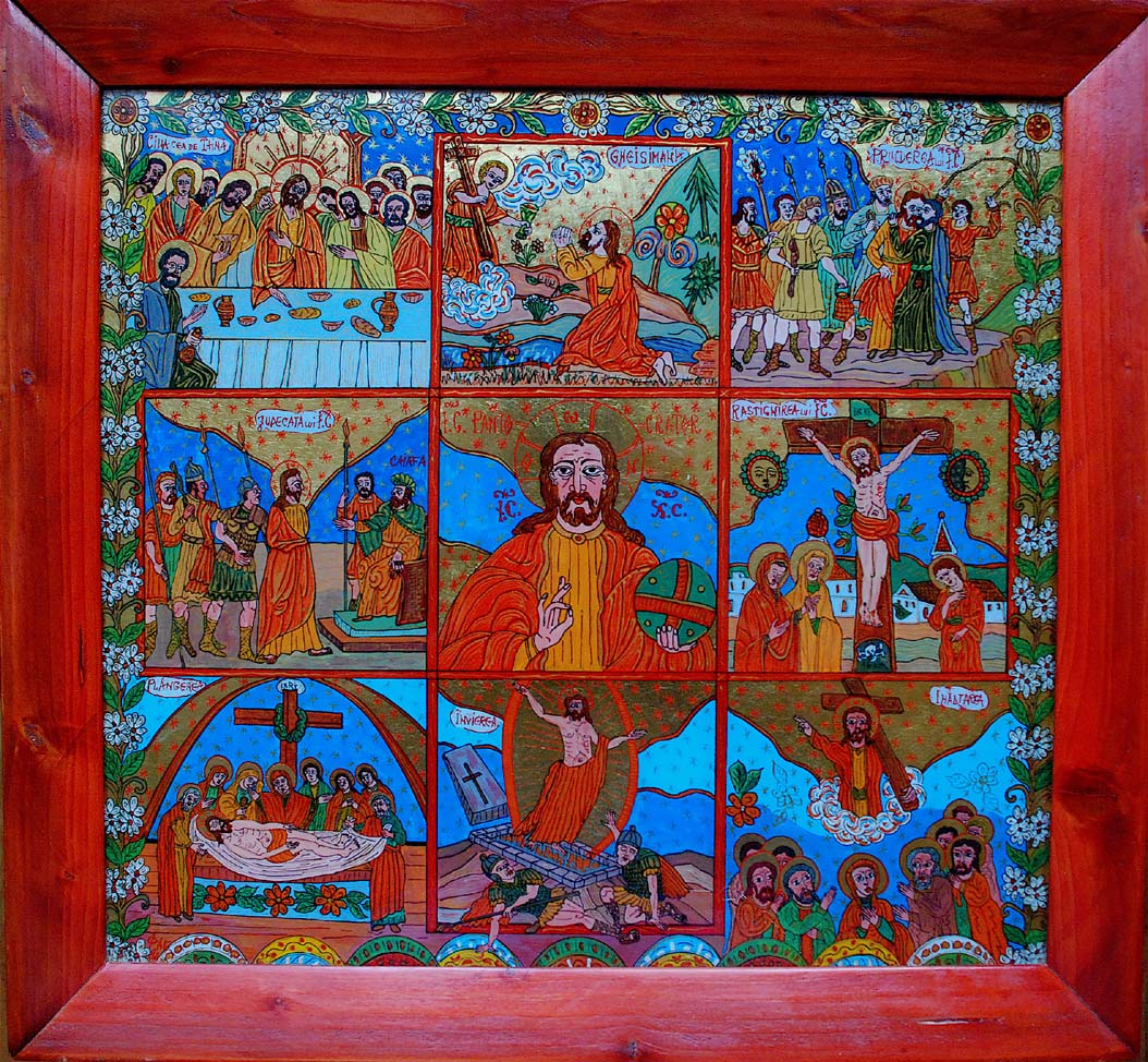 Patimile lui Iisus icoana pe sticlă
