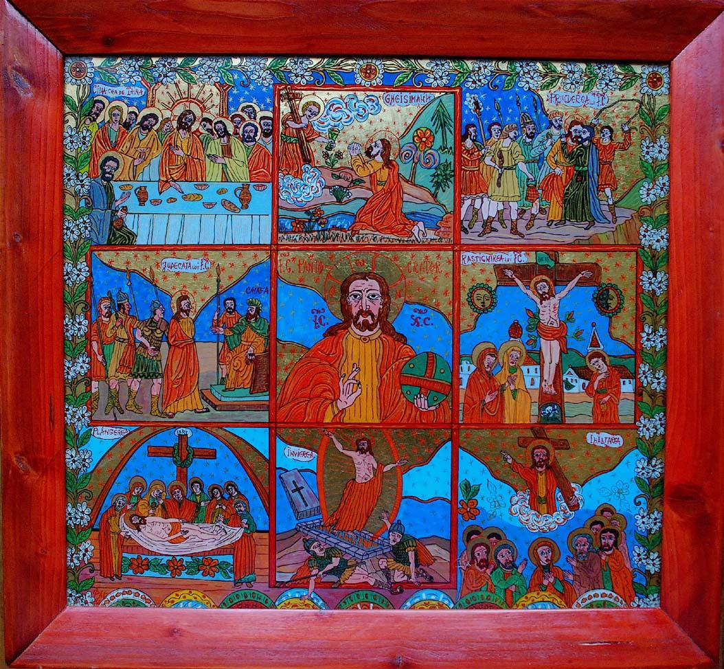 Patimile lui Iisus icoana pe sticla