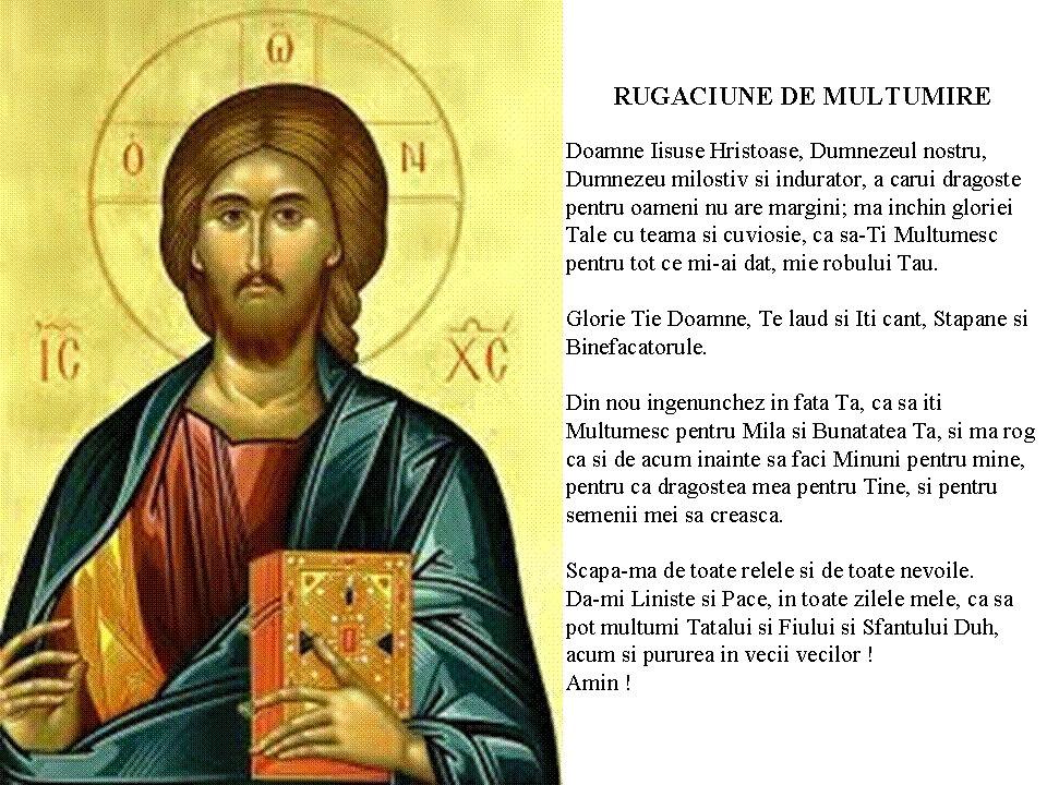 Rugăciune de mulţumire catre Iisus Hristos Mântuitorul nostru